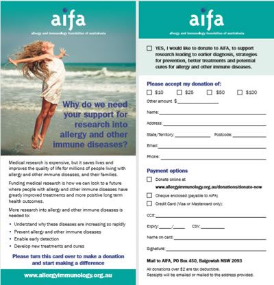 AIFA Donation Card DL