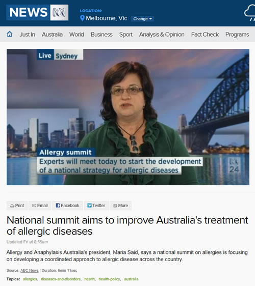 Allergy and Anaphylaxis Australia's president, Maria Said interviewed on ABC NEWS discussing National Allergy Summit convened by ASCIA